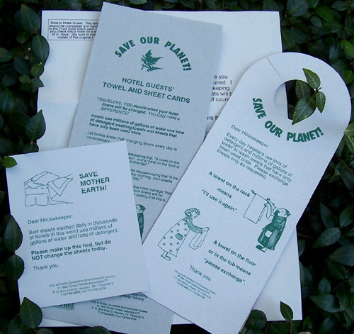 Quot Green Quot Hotels Association Printed Cards