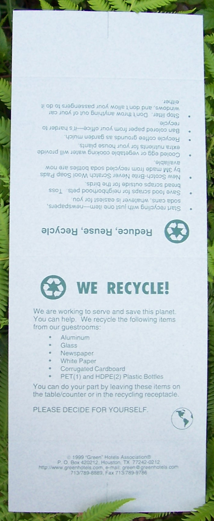 on the list of recyclables you may cross off items which are not currently being collected second side offers guests practical simple ideas for